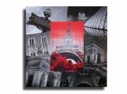 tableau villes toile moderne paris design : Tableau toile collage photos paris tour eiffel rouge noir design