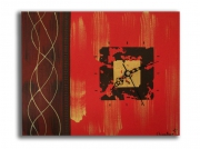 tableau abstrait horloge tableau rouge toile rouge marron : Tableau horloge rouge marron