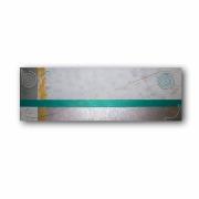 tableau abstrait toile allongee long bleu : Tableau moderne bleu vert blanc or doré argent art contemporain