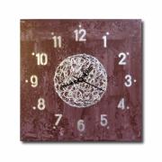 tableau abstrait horloge pendule marron chic : Tableau horloge marron carré taupe chiffre argent pendule modern