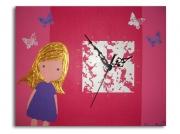 tableau personnages tableau horloge fille rose : tableau horloge rose décoration chambre enfant bébé fille rose