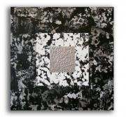 """tableau abstrait noir blanc moderne contemporain : Tableau """" Silver """" noir gris blanc"""