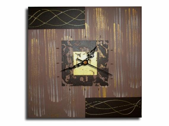 TABLEAU PEINTURE horloge pendule marron chic Abstrait Acrylique  - Tableau horloge beige doré or marron moderne contemporain abstra
