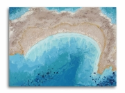 tableau paysages mer ocean plage abstrait : Tableau moderne mer océan plage abstrait bleu beige doré toile f