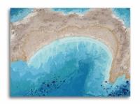 Tableau moderne mer océan plage abstrait bleu beige doré toile f