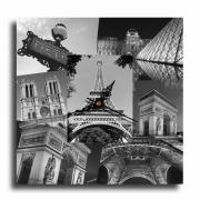 tableau villes horloge pendule paris eiffel : Tableau horloge paris tour eiffel design moderne collage