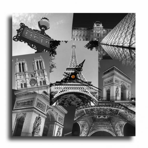 TABLEAU PEINTURE horloge pendule paris eiffel Villes  - Tableau horloge paris tour eiffel design moderne collage