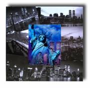 painting villes horloge new york pendule bleu : tableau horloge new york bleu noir photo collage chiaradeco