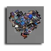 painting villes tableau new york coeur photo : Tableau coeur new york noir gris cadeau saint valentin
