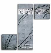 tableau abstrait triptyque gris noir moderne : Tableau toile triptyque gris noir art contemporain moderne abstr