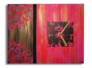 tableau abstrait rose noir horloge toile noire : tableau horloge rose