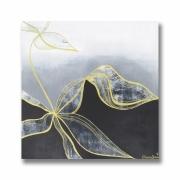 tableau fleurs tableau fleur moderne chic : Tableau toile fleur zentangle carré blanc gris noir doré art con