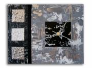 tableau abstrait tableau horloge noir moderne : tableau horloge noir et blanc gris