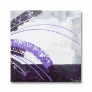 tableau fleurs carre mauve violet moderne : Tableau carré design violet prune mauve blanc gris chic moderne