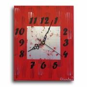 tableau abstrait pendule horloge design rouge : horloge pendule design tableau chiffre rouge carré argent noir d