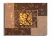 tableau abstrait marron dore tableau marron horloge : tableau horloge marron II
