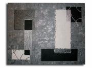 tableau abstrait tableau contemporain moderne design : Tableau toile noir gris argent blanc art contemporain moderne ab