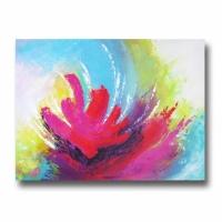 Tableau moderne fleur abstrait chic coloré bleu violet rose jaun