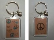 """bijoux abstrait porte cles bleu marron coeur : porte clés """"peace"""" bleu marron moderne coeur paix"""