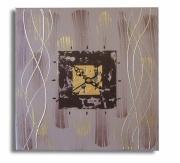 """deco design abstrait marron dore horloge toile marron : tableau horloge """" enlacement """""""