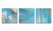 tableau abstrait triptyque bleu feuille d or salon : Tableau triptyque moderne bleu vert beige doré toile abstrait ch