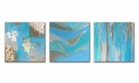 Tableau triptyque moderne bleu vert beige doré toile abstrait ch