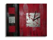 tableau abstrait horloge rouge tableau rouge toile rouge tableau moderne : Tableau Horloge Rouge