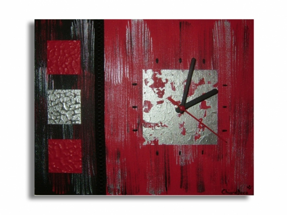 TABLEAU PEINTURE horloge rouge tableau rouge toile rouge tableau moderne Abstrait Acrylique  - Tableau Horloge Rouge