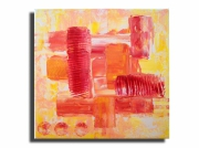 tableau abstrait rouge rose orange jaune : Tableau toile rouge rose orange jaune blanc moderne
