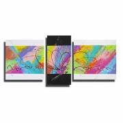 tableau abstrait tableau moderne colore xxl : Tableau XXL coloré moderne arc en ciel bleu violet rouge jaune v