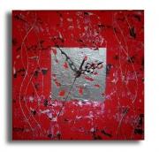 tableau abstrait toile horloge moderne rouge : Tableau horloge carrée rouge noir argent de chiaradeco