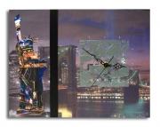 tableau villes horloge collage new york design : tableau horloge new york collage photo design moderne