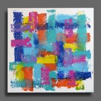 grand tableau carré toile moderne moderne coloré bleu rose mauve