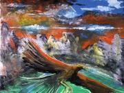 tableau paysages montagne oiseau ciel : Illusion