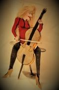 sculpture personnages musique humour sensualite : baboonette au violoncelle