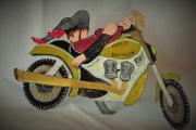 sculpture personnages sensualite moto femme humour : Babounette et sa Harley