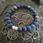 bijoux autres bracelet lapis lazuli pyrite argent : Bracelet lapis lazulis