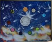 tableau paysages planetes espace lune : La vie autour de la lune