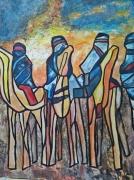 tableau abstrait tergui touareg sahara algerie : L'homme bleu