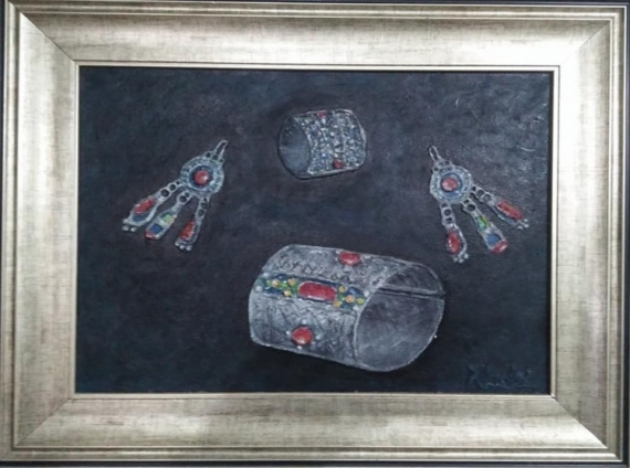 TABLEAU PEINTURE Bijoux berbères Bracelet Peinture a l'huile  - Bracelet et Boucle