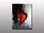 tableau artiste peintre plas tableau abstrait rou art contemporain pei decoration toile exp : AP 01(non disponible)