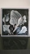 tableau abstrait abstrait argent feuilles cadre : FEUILLES D'ARGENT
