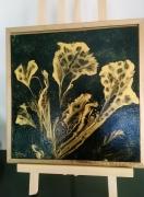 tableau abstrait abstrait or feuilles cadre : FEUILLES D'OR
