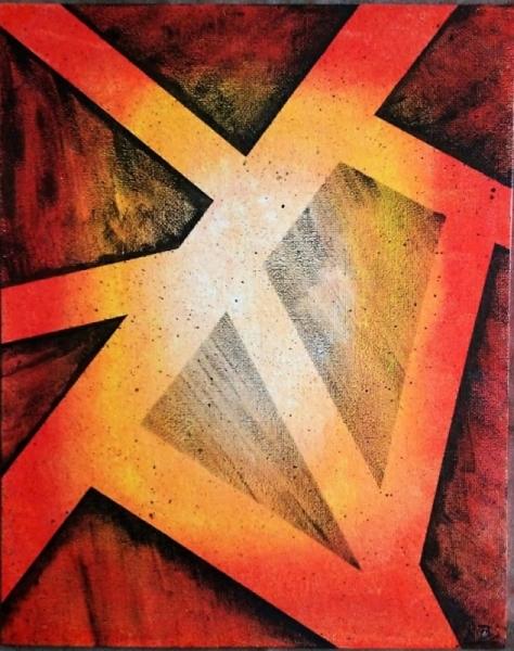 TABLEAU PEINTURE Abstrait Acrylique  - FEU 2