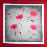 tableau fleurs fleur rose abstrait : légéres