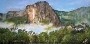 tableau paysages voyage amerique cascade foret : Salto Angel