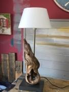 deco design abstrait lampe racine bois poser : Lampe