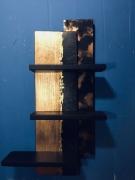 deco design abstrait etagere murale bois noir : Etagère