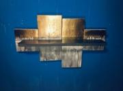 deco design abstrait etagere murale or blanc : Etagère