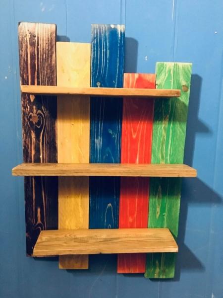 BOIS, MARQUETERIE étagère murale bois mulicolore  - Etagère